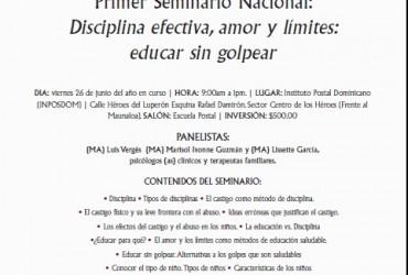 """Primer Seminario Nacional """"Disciplina afectiva, amor y límites: educar sin golpear"""""""